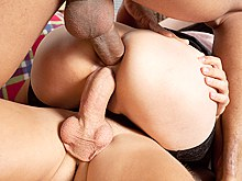 Free hardcore double penetration fuck videos where you can witness real DP orgy with girls who love being double penetrated by big black and white cocks