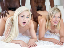 Free interracial porn videos where white girls are sucking big black cock and get tricked into dirty gangbang where their holes are fucked hard