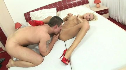 Breasty Golden-Haired Legal Age Teenager Victoria Rides a Giant Dick