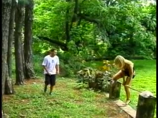 Forest fun for a blond TS