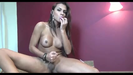 Busty Brunette Babe Shemale Solo