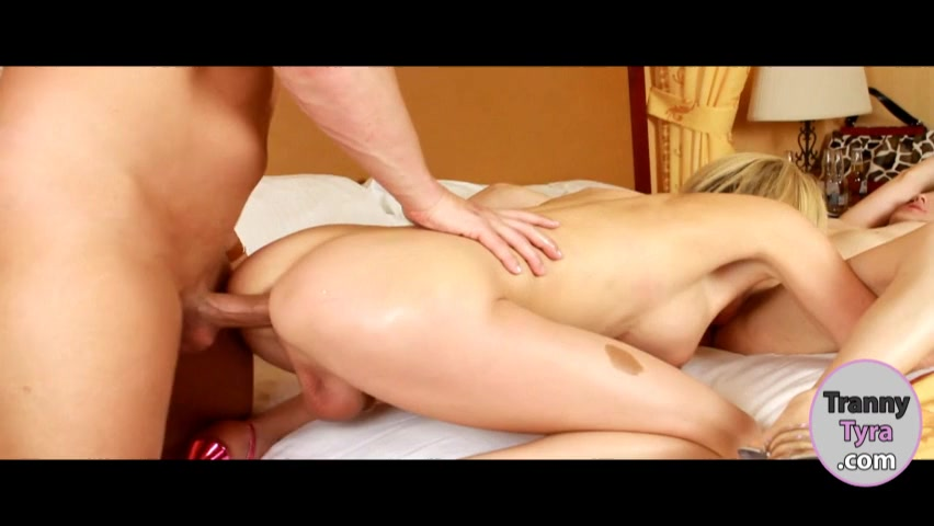 Two busty shemales analed and facialed