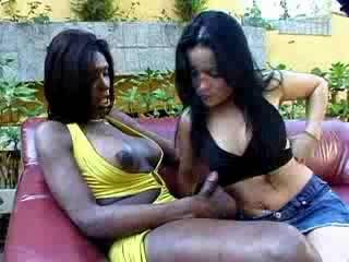 Black shemale fucks girl outdoor