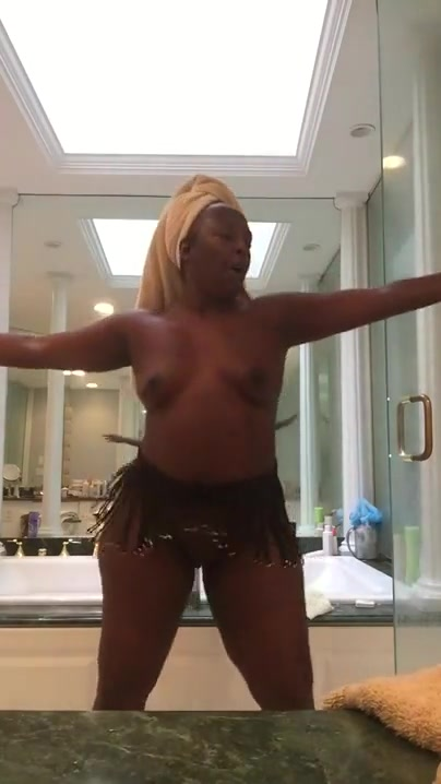 Naked dance in the bathroom.