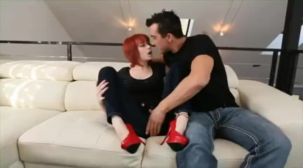 horny redhead movie with shaved, high heels scenes