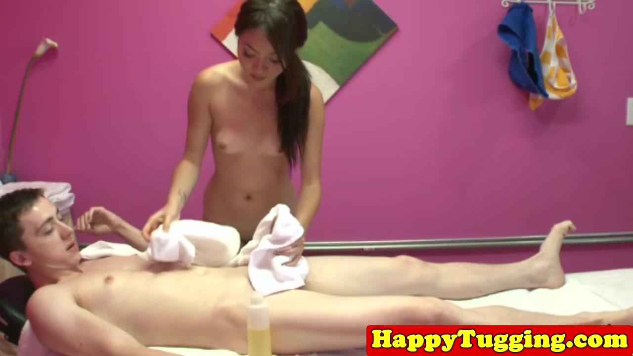 Asian handjob masseuse jerking client cock