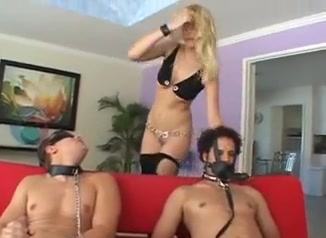 blonde slut playing with two hard jocks and toys