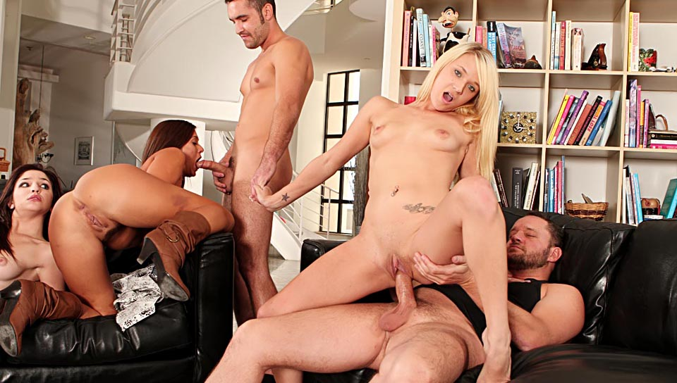 Giselle Leon, Cece Stone, Tegan Summers, Alec Knight, Anthony Rosano in Neighborhood Swingers #04, Scene #02