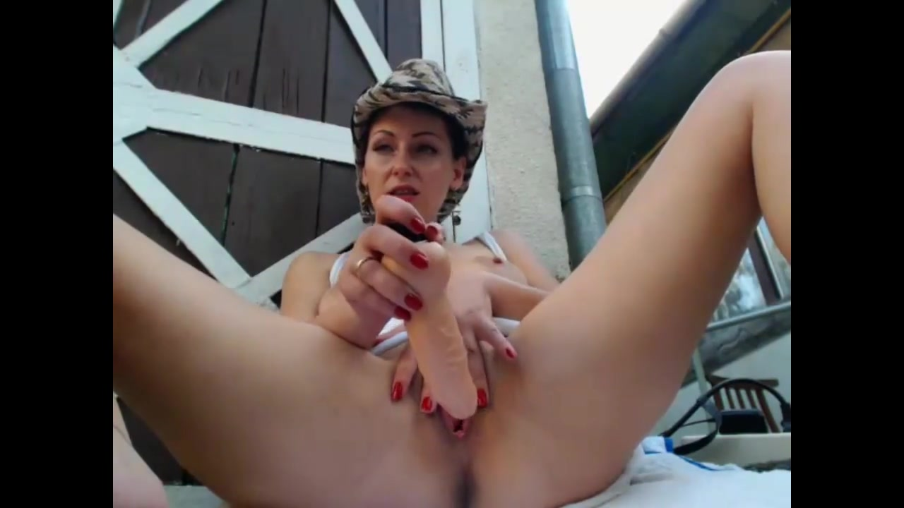 hot sexy girl shows body outdoors, backyard. part 3