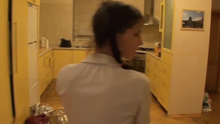 Student with pigtails drilled in the arse in the kitchen