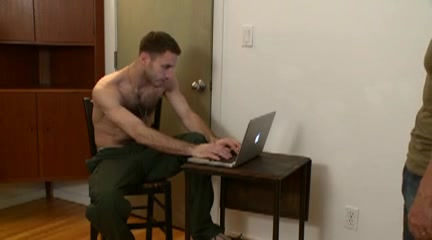 Two hairy gay military guys jerk off together