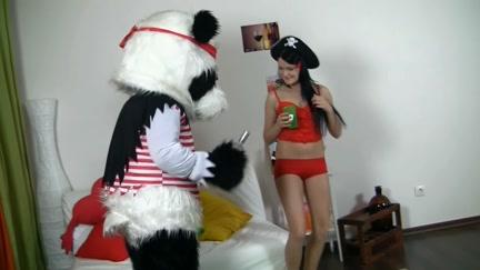 Hot brunette hair angel in red tempts Panda