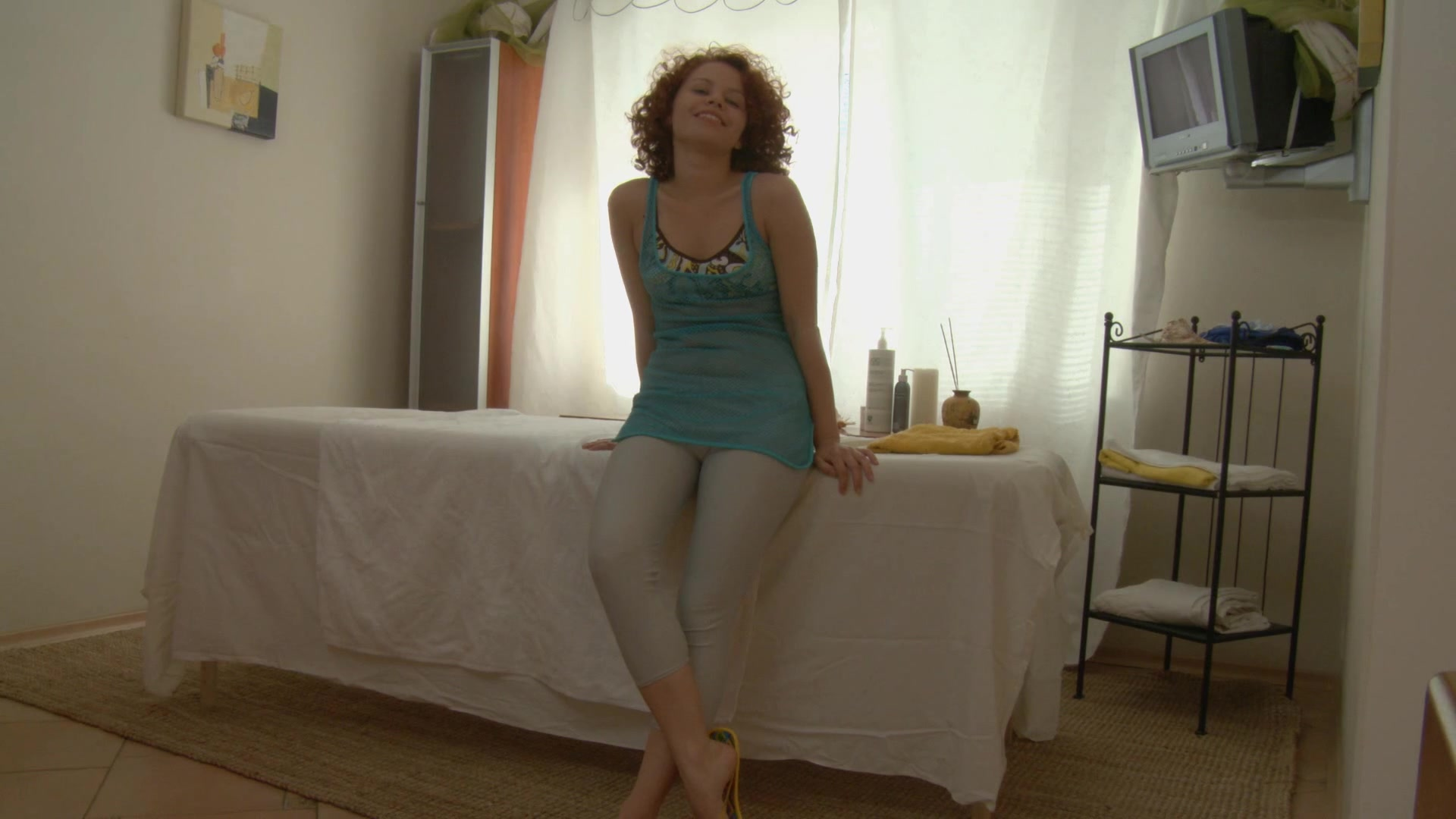 Bushy ginger drilled in large a-hole after massage