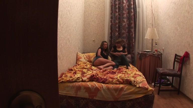 Pretty girls fucked in bedroom