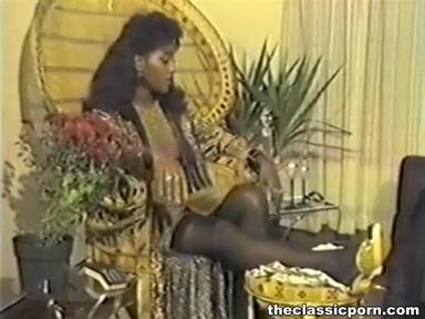 Retro black girl between white rods