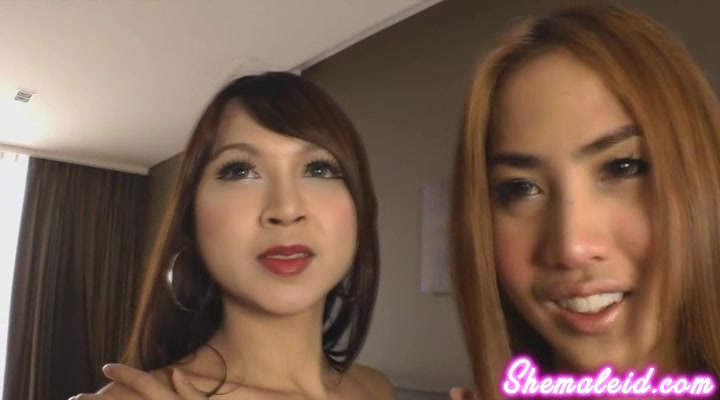 These sultry Asian ladyboys bend over to expose their tender buttholes and finger themselves.