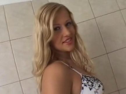 Long legged hottie in lingerie with dildo in her ass
