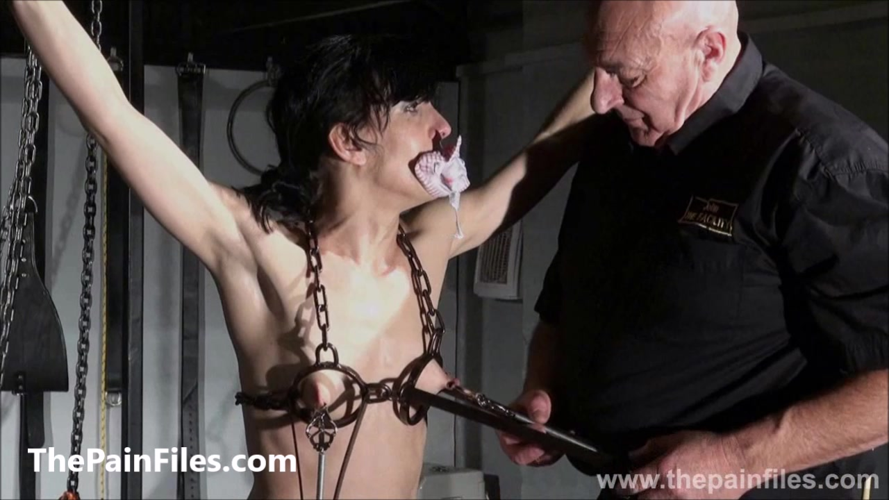 Breaking Elise Graves in hard dungeon tit tortures and suspension bondage of whipped and punished american BDSM model
