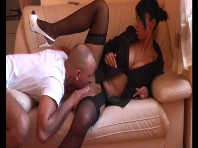 Sexy sweetheart in nylons fucking on ottoman
