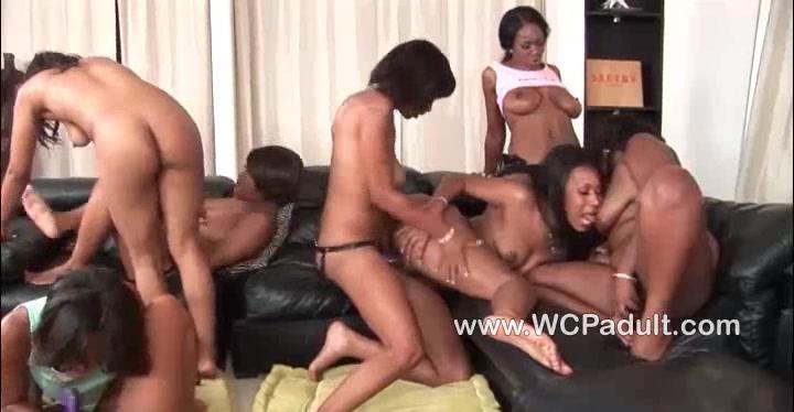 Horny ebony lesbian sluts in a strapon orgy