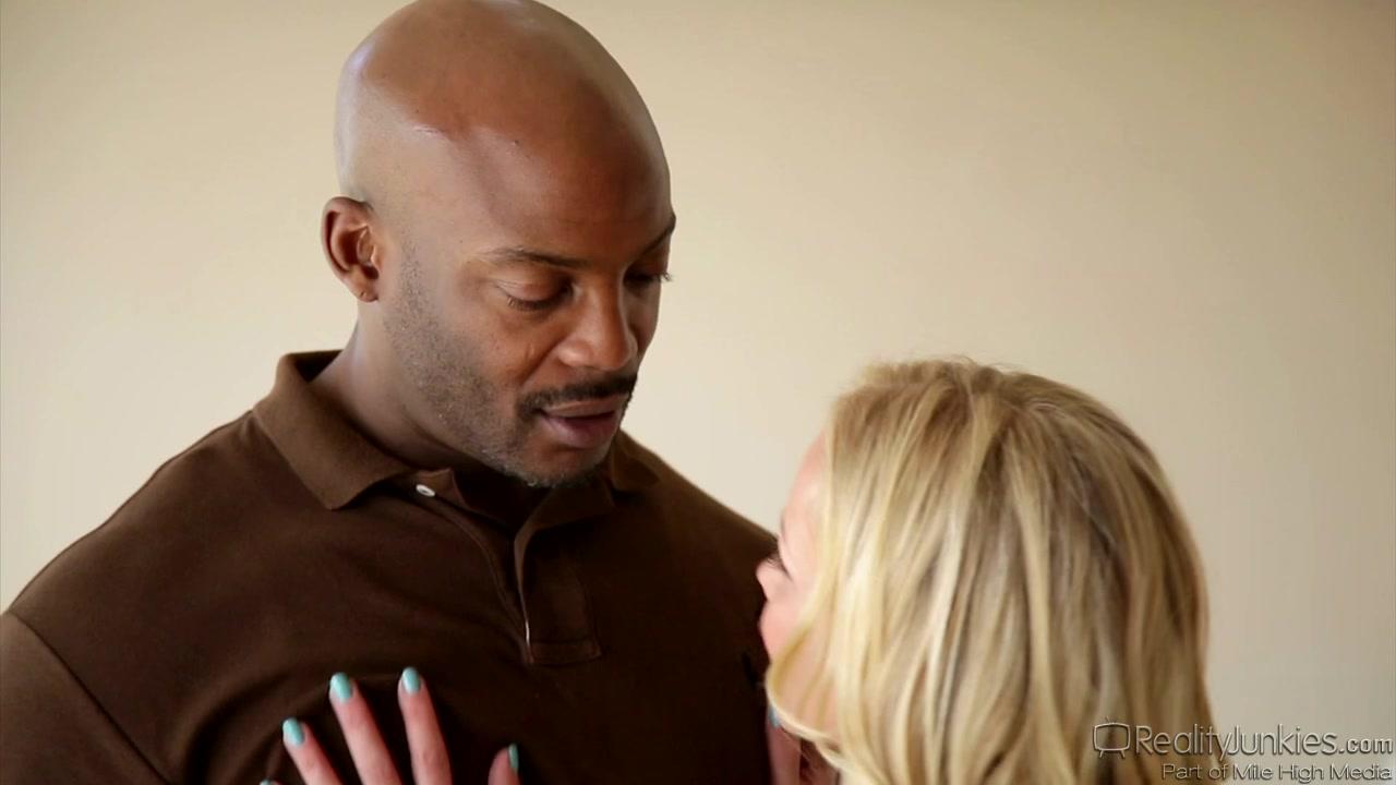 Blonde milf does professional blowjob to ebony guy