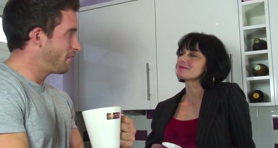 dirty dirty british milf gets fucked in the kitchen