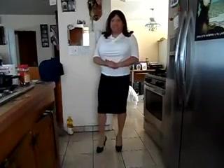 Transgender white front design blouse black tight skirt