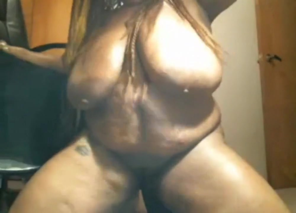 black bbw with huge boobs goes crazy on dildo scream
