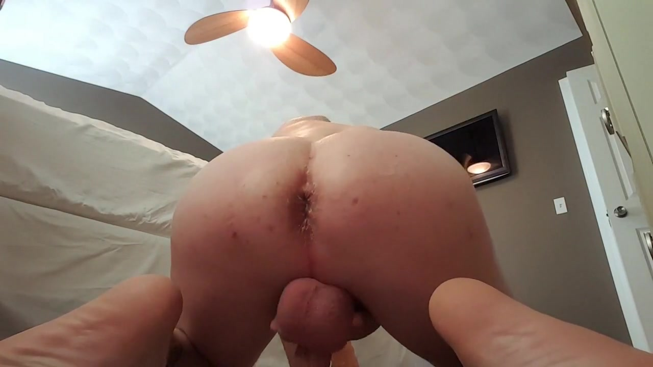 Giant dildo deep in open ass