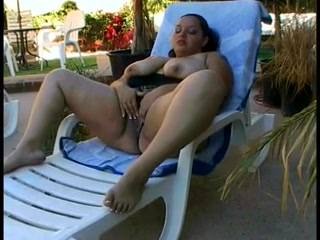 Chunky slut with extra large boobs fondles them then fingers her pussy solo