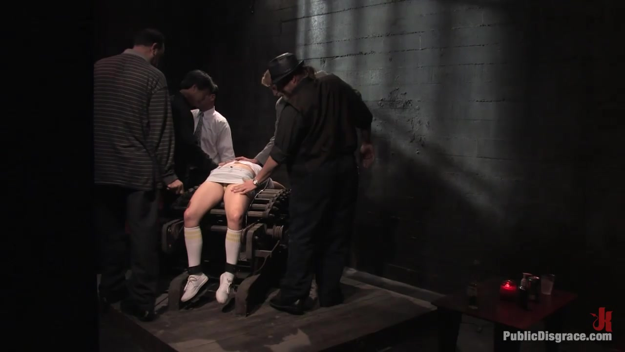 Dirty old men get serviced by 18 year old sluts in white panties