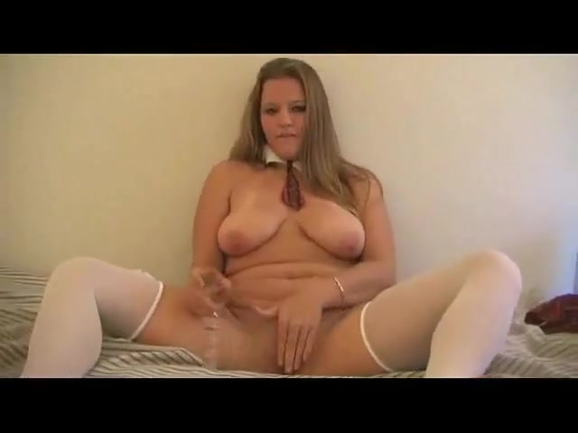 hot chubby friend masturbating her shaved pussy with a dildo