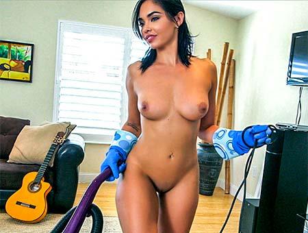 Selena Santana in Hot Maid Polishes Knobs - BangBros
