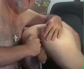 Grandpa and college girl play on cam