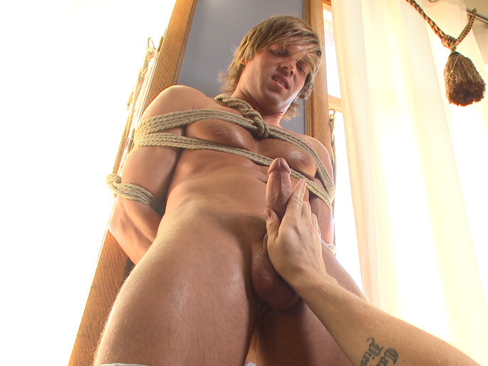 Blond surfer dude gets edged in bondage for the first time