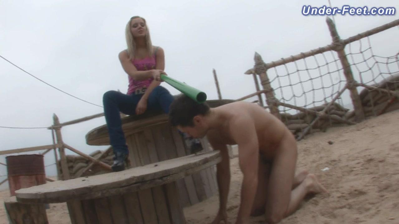 Video 46823704: foot fetish femdom, foot fetish hd, pet slave, mistress training, beautiful blonde slave, doggy trainning, slave school, beach doggie, young blonde slave, feet, naked