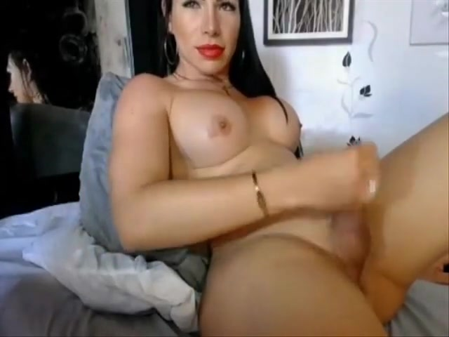 busty colombian shemale jerking off her hard cock like rock