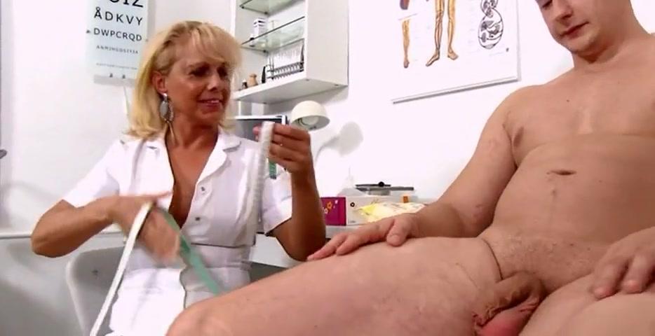 mature blonde nurse measures patients soft and erect penis