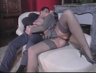 Vintage sex with elegant hairy woman in lingerie