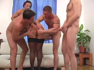 Tattooed Girl In Gangbang