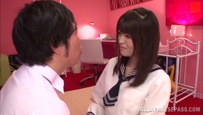 Busty lady Azusa Akane enjoys tit licking
