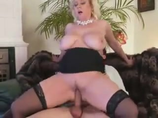 sexy blonde milf takes a load on her tits