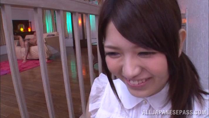 Azusa Akane naughty Asian teen gets cum on her face