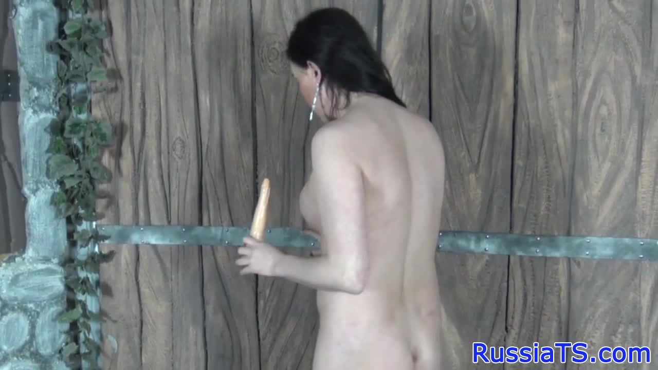 image Russian shemale toying her ass with dildo