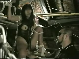 BDSM loving babe enjoys pussy insertions in public
