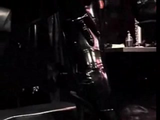 Sissy serf in latex gets femdom fisting action