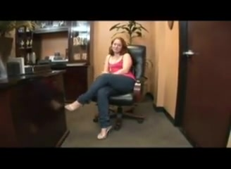 redhead slut gets fucked at the office with deep creampie
