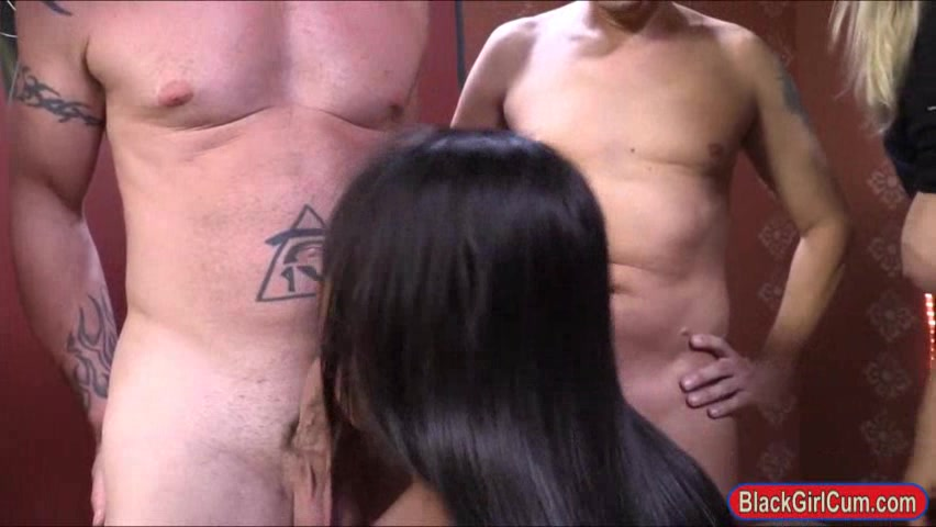 Ebony Nikki Ford facialed bukkake style by many big white dicks