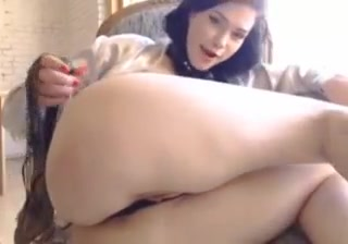 sexy pale hot brunette ass pussy spanking dildo bll gagg