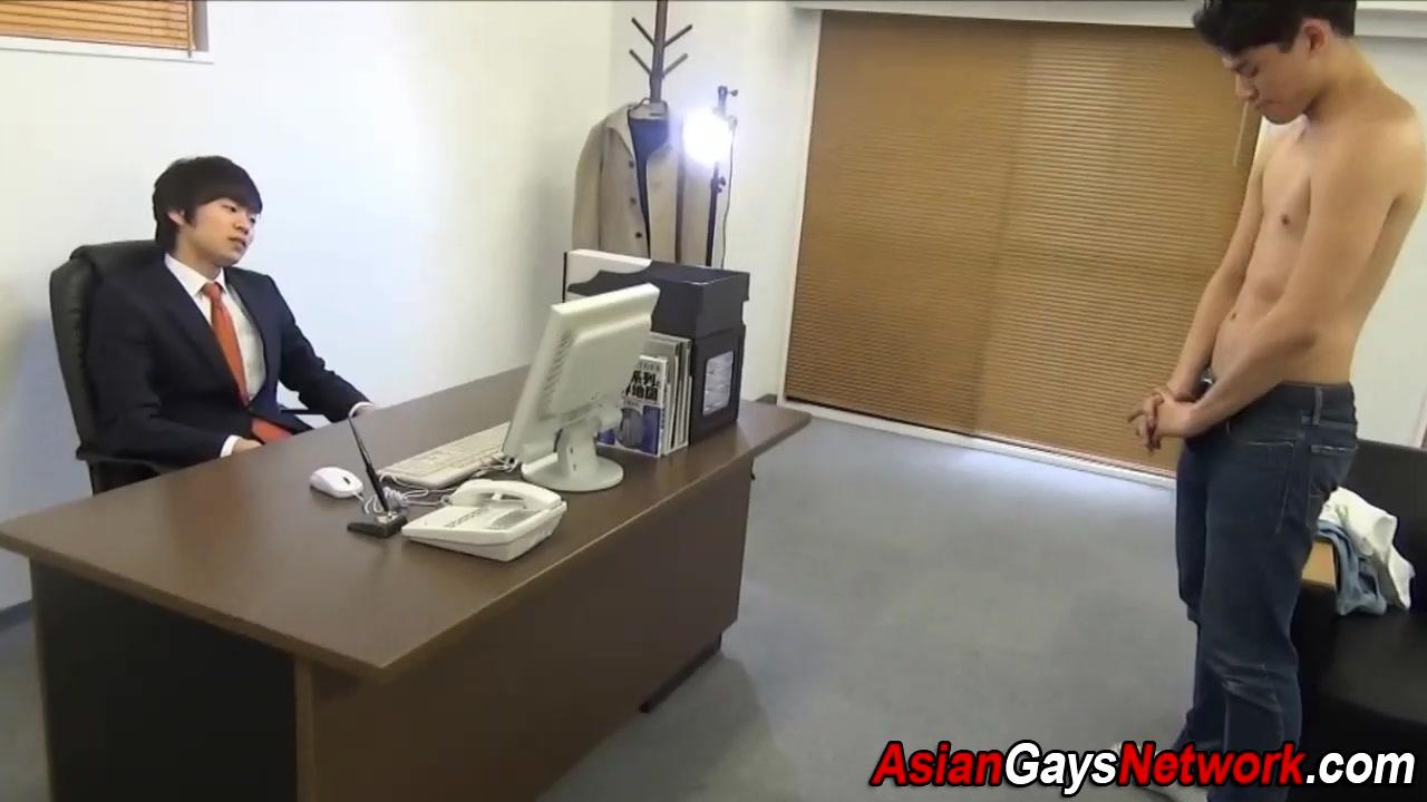 Asian office twink sucks